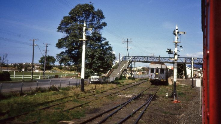 A double-deck electric set sits at Thirroul, NSW on a Wollongong suburban service,1984.