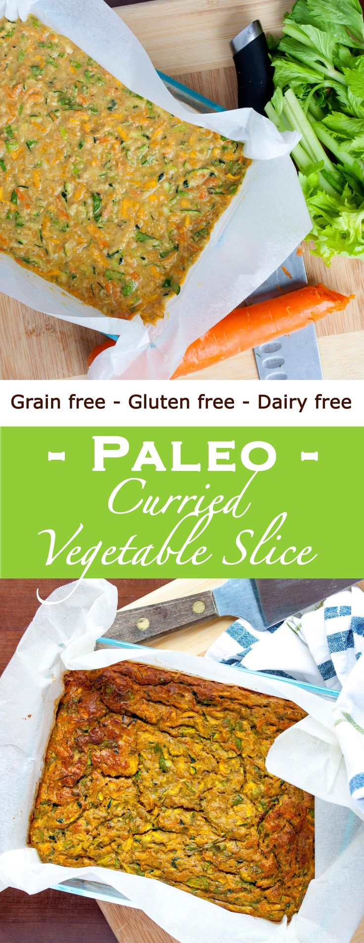 Grain free, gluten free, dairy free Paleo Curried Vegetable slice make the perfect prep meal. Check it out!