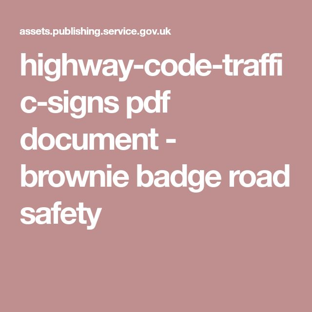 highway-code-traffic-signs pdf document - brownie badge road safety