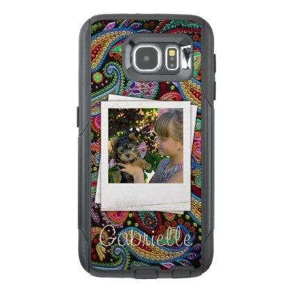 Fun Custom Paisley Floral Pattern Your Name Photos OtterBox Samsung Galaxy S6 Case - diy cyo personalize design idea new special custom