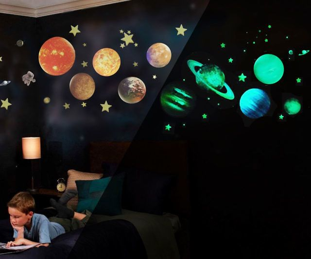 Give Your Bedroom A Cosmic Vibe By Hanging Up These Glow In The Dark Solar System Decals As Soon As The Ligh Solar System Decal Solar System Room Dark Ceiling