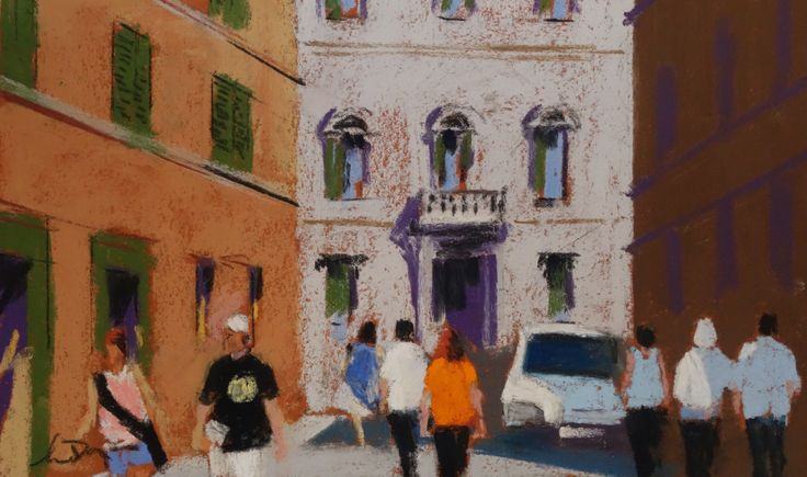 """A street in Rome. 7x9"""" pastel on Colourfix"""
