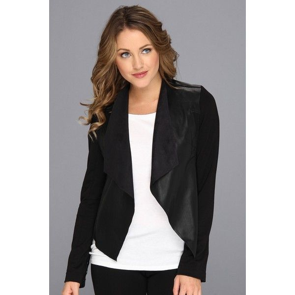 KUT from the Kloth Faux Leather Drape Jacket Women's Jacket ($89) ❤ liked on Polyvore featuring outerwear, jackets, draped collar jacket, vegan jackets, draped faux leather jacket, imitation leather jacket and long sleeve crop jacket