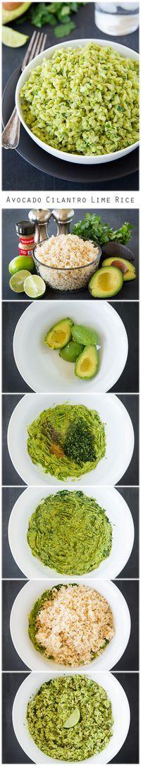 #arroz con #palta, lima y cilantro