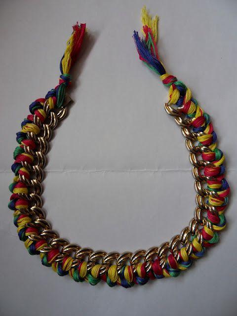 Les fripes de Valentine: Tuto : le collier chaîne et fils tressés
