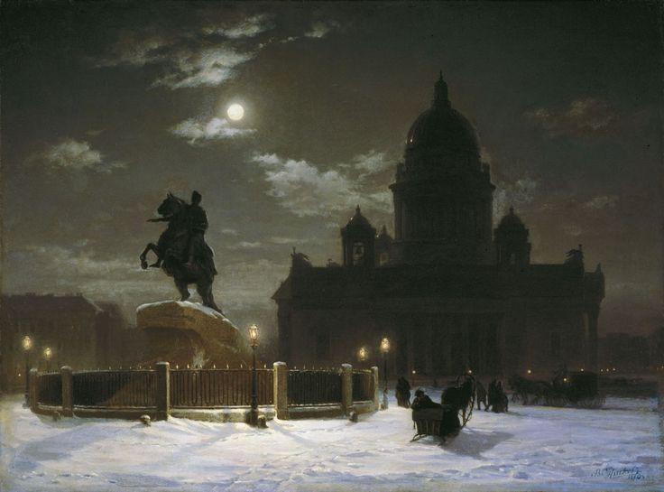 Вид памятника Петру I на Сенатской площади в Петербурге
