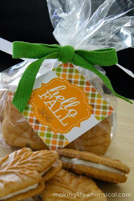 FREE Printable fall tag.  Maple Cookies from Trader Joes.  Would make a GREAT GIFT!  #makinglifewhimsical www.makinglifewhimsical.com