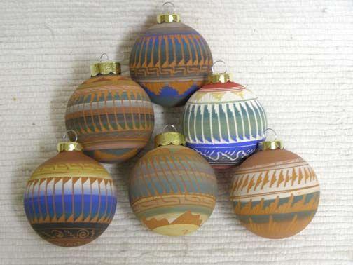 Native American Navajo Made Christmas Ball Ornaments at Kachina House - love this wholesaler in Sedona, AZ.