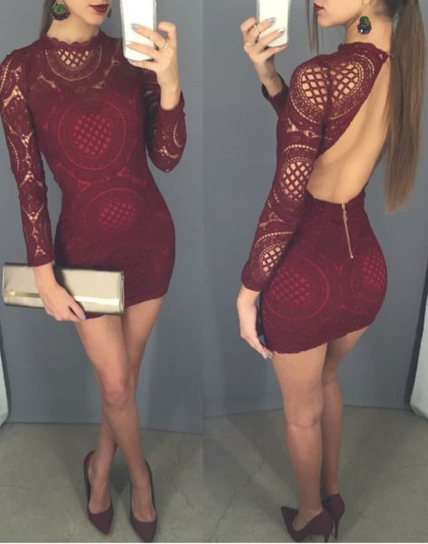 Sexy Open back homecoming dresses,lace short party dress,tight long sleeves prom dresses