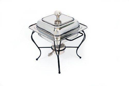 Star Home 2-Quart Square Stainless Steel Chafing Dish by Star Home. $137.73. Nickel plated stainless steel; Resists turning, tarnishing, oxidizing, pitting and scratching. Stylish serving and entertaining. Food safe. Do not use in dishwasher; Clean with warm soapy water and dry immediately with a soft cloth. Stainless steel double-boiler with hand-applied beading includes a water pan and stainless steel food pan, powder-coated base and Sterno holder.. Save 48% Off!