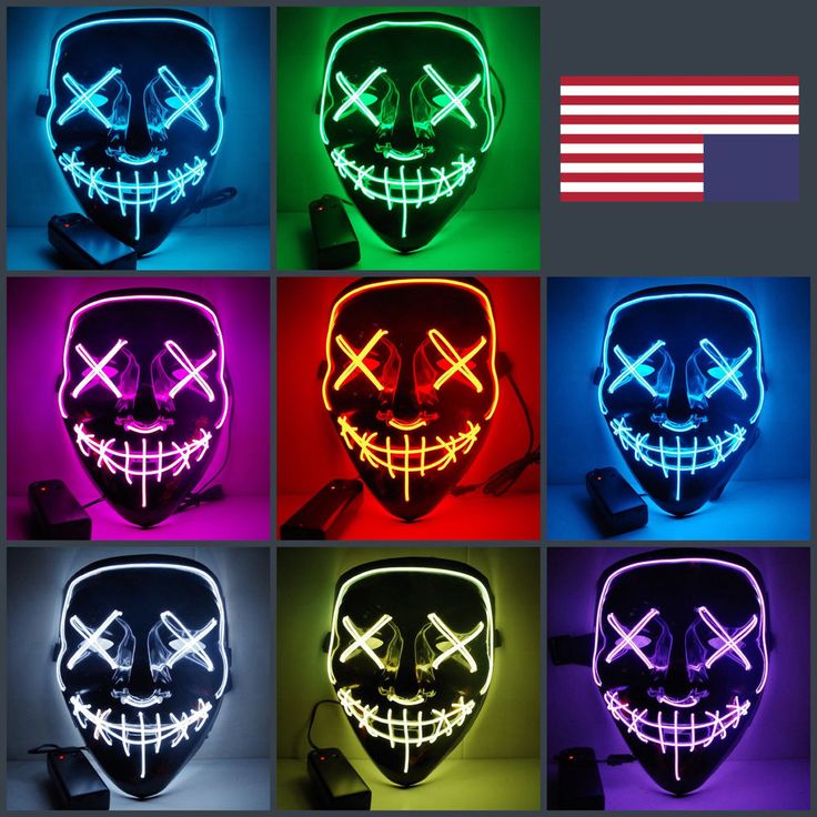 LED Light Up Mask The Purge Halloween Costume Party Masks