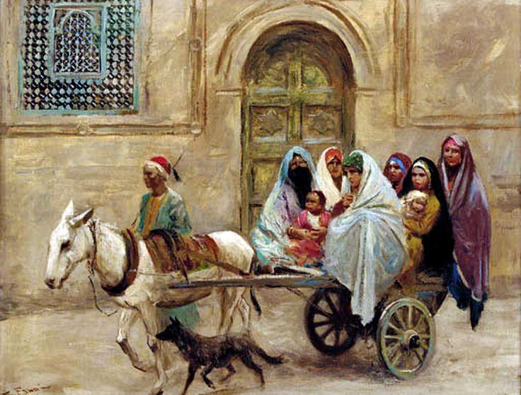 An Arab family on a donkey drawn cart by Fabio Fabbi Oil On Canvas