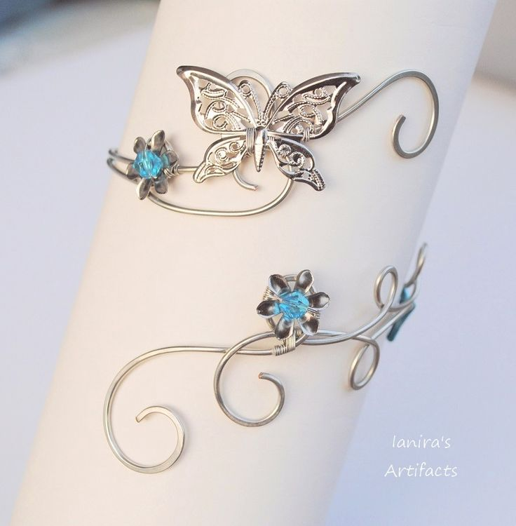 Butterfly wire wrapped upper arm cuff by IanirasArtifacts.deviantart.com on @deviantART