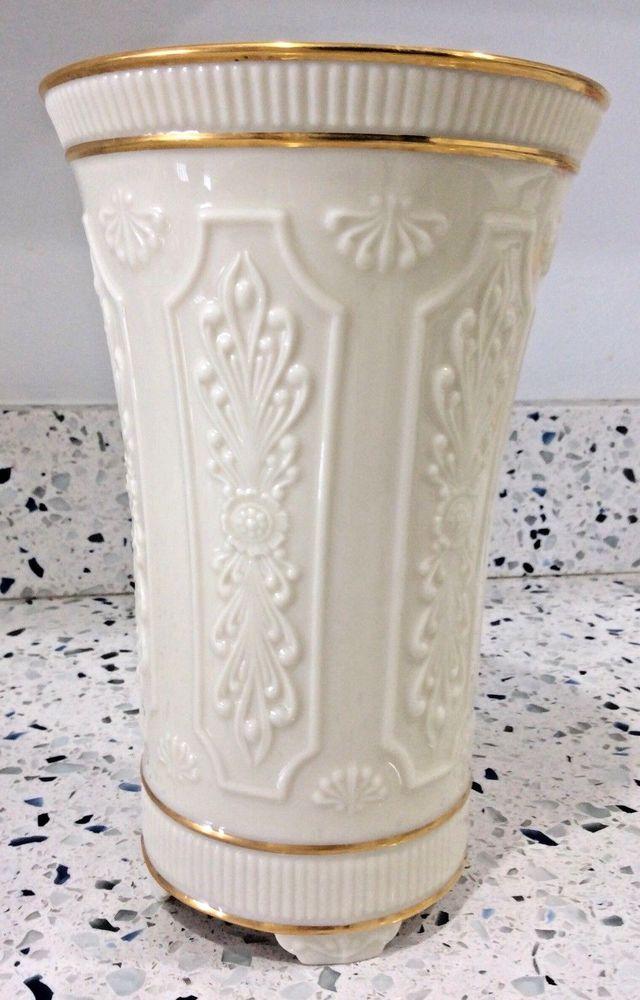 Lenox China Versailles Footed Column Vase Ivory 24k Gold Trim Vintage 1978 Mint Lenox Neoclassical Lenox China Vase Lenox