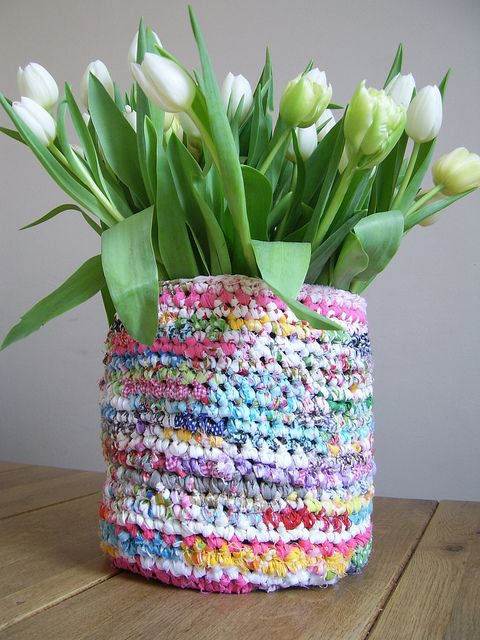Sweet rag basket made with recycled plastic packets maybe for Flower pot making with waste material