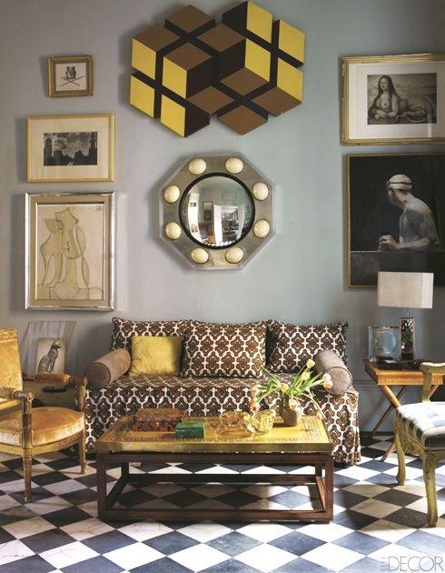 ~Lorenzo Castillo apartment in Madrid Elle Decor I La Dolce Vita---look at yellow cubes up on top--Rubik's like