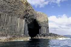 Fingal's Cave, ScotlandFingal's Cave is a cathedral-like sea cave that stretches about 250 feet (75 meters) into the rock on the island of Staffa off the west coast of Scotland, with a roof about 70 feet (20 m) above the sea. It formed within lava flows that cooled to form hexagonal columns. The cavern inspired Mendelssohn's Hebrides overture and attracted celebrity tourists of the Victorian era such as Jules Verne, William Wordsworth, Alfred Lord Tennyson and Queen Victoria herself.