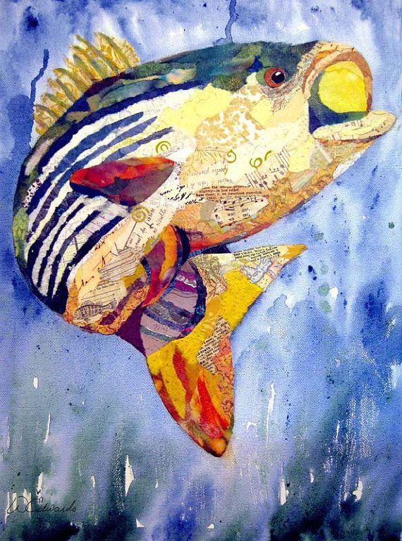 Sealife  Torn Paper Paintings Notecards by weDesigns on Etsy, $12.00