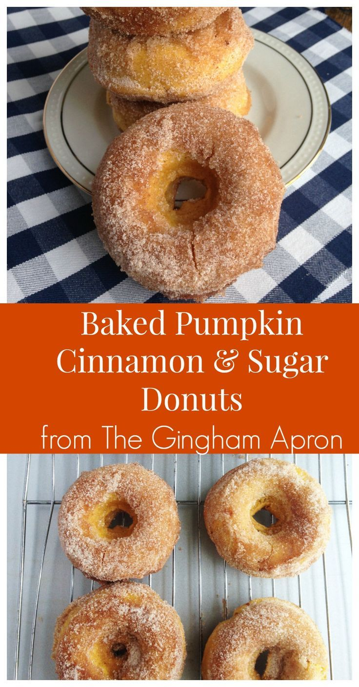 Baked pumpkin, cinnamon and sugar donuts- all the fall flavors in a delicious donut!