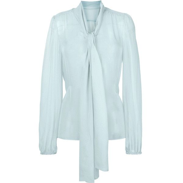 Dolce & Gabbana Chiffon Pussybow Blouse ($771) ❤ liked on Polyvore featuring tops, blouses, pussy bow blouses, see through blouse, sheer blue blouse, bow neck blouse and chiffon blouses