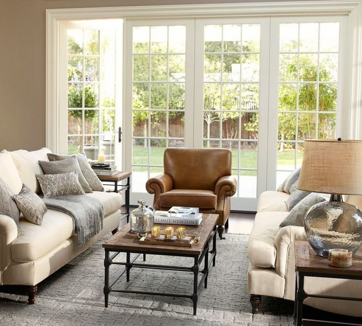 pottery barn living room brooklyn leather armchair carlisle upholstered grand sofa parquet coffee table maddie beaded lumbar pillow cover of Choosing These Nifty Pottery Barn Living Room Ideas to Make Your Life More Comfortable