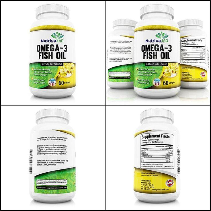 Nutrica360 Omega-3 Pelagic Fish Oil  Health 1000 Mg EPA+DHA 60 Softgels 1 pack #KettlemanLabs