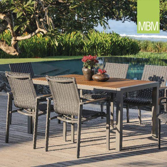 Moderne Gartengarnitur Mit 6 Stapelstuhlen Gartentisch Aluminium Mbm Kennedy Sitzgruppe Gartentisch Aluminium Gartenmobel Design Aussenmobel