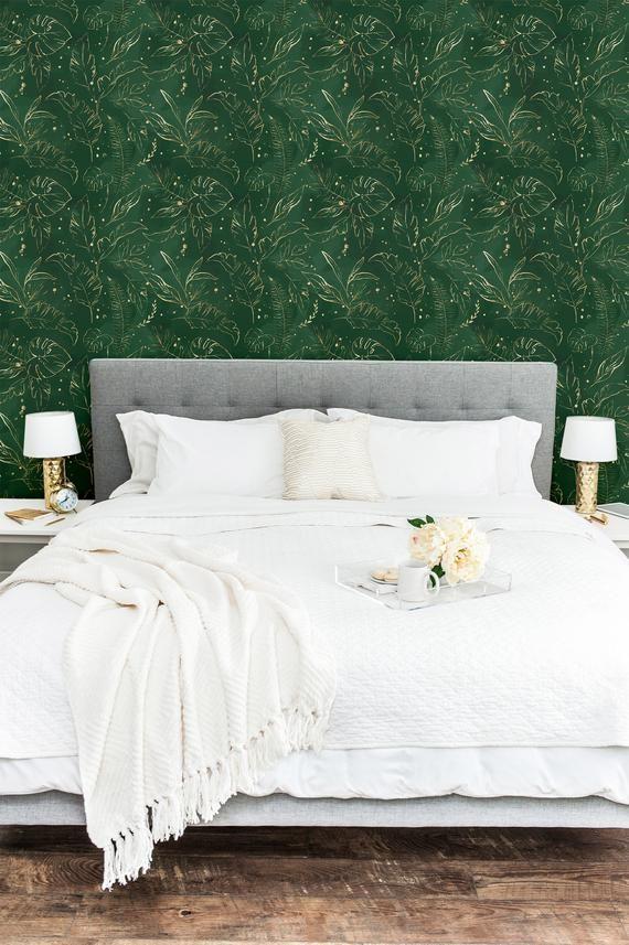 Green Gold Jungle Self Adhesive Wallpaper Peel And Stick Etsy Home Decor Bedroom Wall Decor Bedroom Apartment Decor