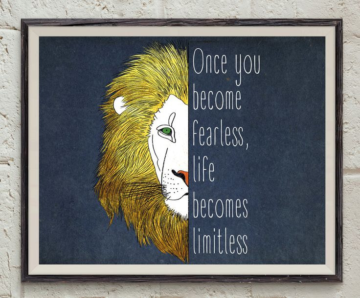 Fearless Quote Print - Inspirational Home Decor - Gold Wall Art - Lion Printable - Limitless Quote Art - Animal Print - Life Quote Wall Art by Lepetitchaperon on Etsy