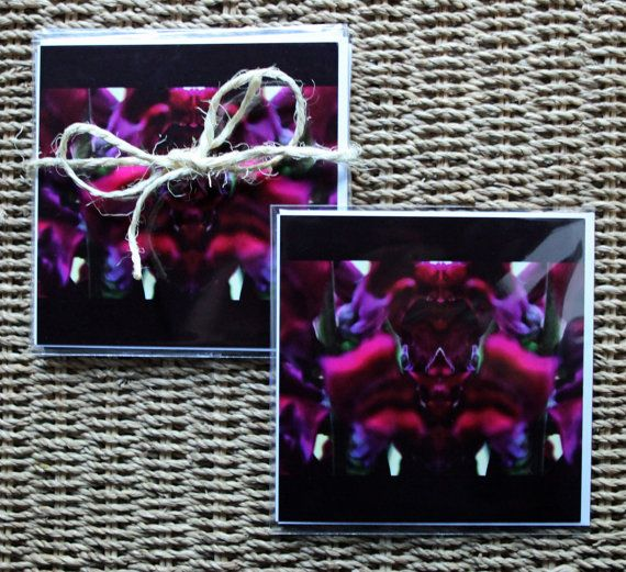 "Blank greeting card set of 4 fine art cards photo - Made by Gia. Abstract flowers. Canna Lily - Pink Flower Power. I love the canna lily's color, deep magenta pink, and wanted to do something creative with it...so I transformed it into a warrior, complete with a helmet, staff and body armor.  5x5"" Creative, abstract photo cards (4) - $14.00.  https://www.etsy.com/au/shop/MadebyGia"