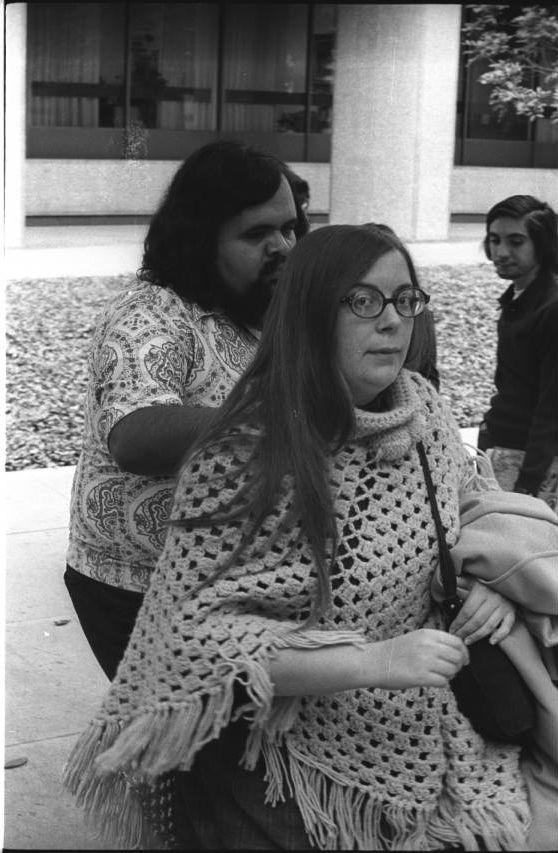 Festival de Flor y Canto, 1973: Films and Photographs - Photograph of Antonio G. Ortiz and Carmela Ortiz at the Festival de Flor y Canto, University of Southern California, Los Angeles, 1973.