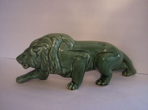 Estate Vintage 1950s Mccoy Green Crouching Lion Jungle Cat