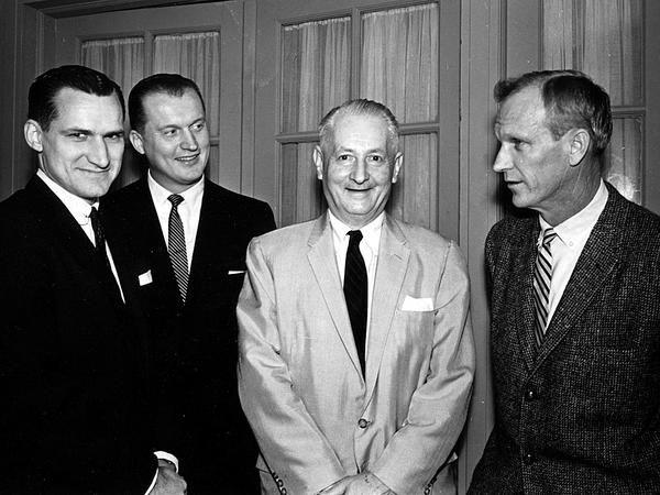 Dean Smith (UNC), Vic Bubas (Duke), Everett Case (NC State), and Bones McKinney (Wake Forest)