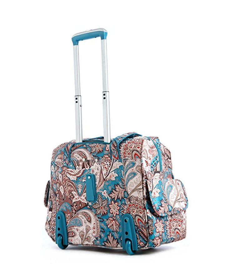 Girls Carry On Luggage On Wheels For Women Suitcase Rolling Duffle Blue Paisley  #Olympia #TravelBag
