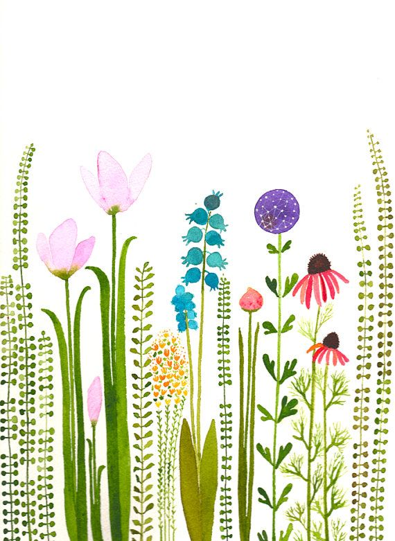 colorful garden original watercolor by zuhalkanar on Etsy, $45.00