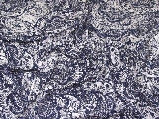Floral Print Stretch Jersey Knit Dress Fabric Blue & White | Fabric | Dress Fabrics | Minerva Crafts