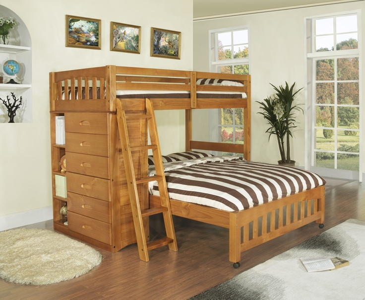 Discovery World Furniture DWF1154Weston Twin over Full L-Shaped Bunk Bed with Bookshelves and Storage wayfair.com