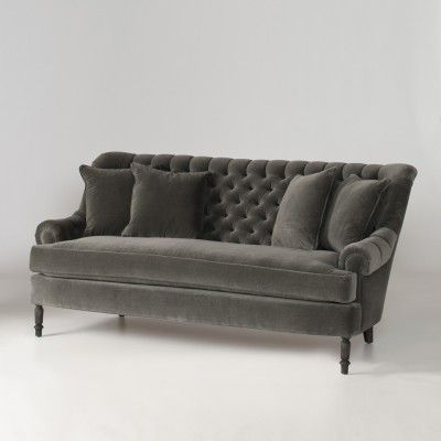 gorgeous grey velvet settee - original note on pin - schoolhouse electric and supply co.