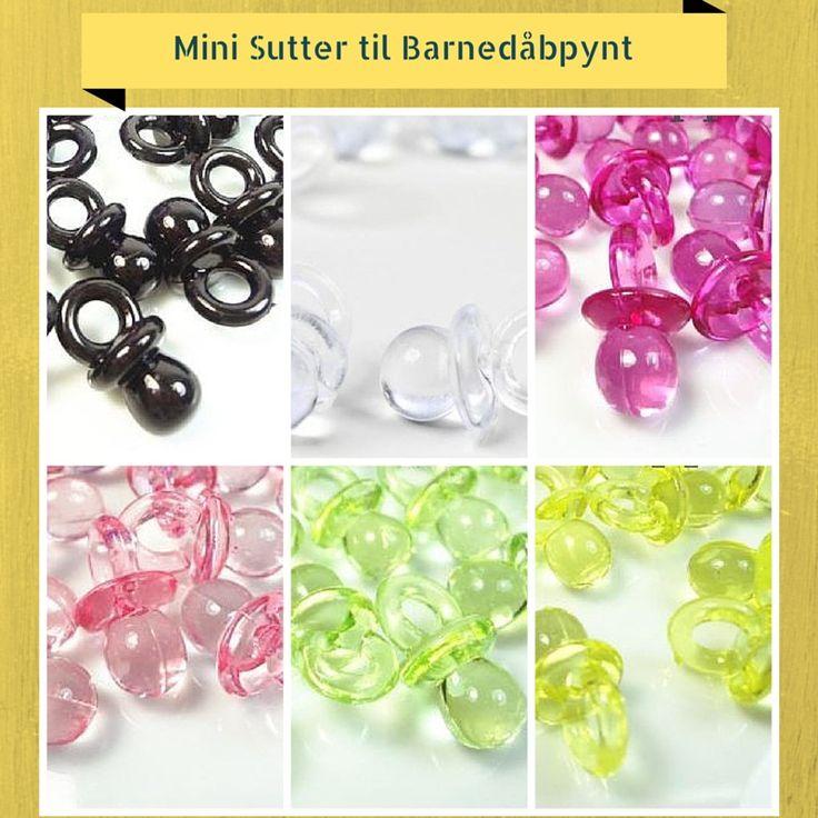 #Mini #Sutter til #Barnedåbpynt Søde små sutter i #transparent plast. Brug dem f.eks. som #konfetti til bordet, som pynt på æsker, #organzaposer eller #invitationer og meget mere.