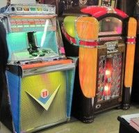 Juke boxes. 10-25 cents and you got to pick a song, on 45 rpm, some would have 'bubble' effects, some would change color - was way cool when you got 3 songs for 25 cents!