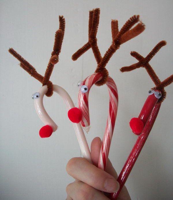 6 candy cane reindeer craft