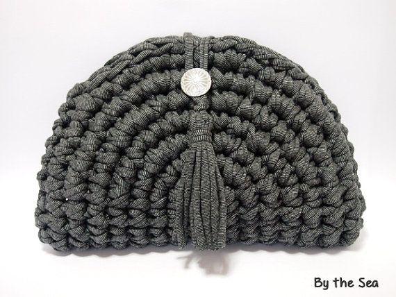 #Tshirtyarn  #crochet #Clutch Bag   Black MIX by BytheSeajewel