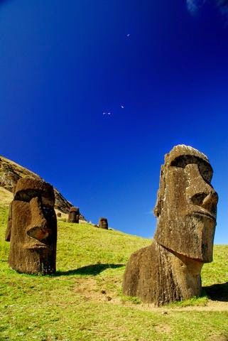 Easter Island, Chile. Probably less beautiful now that they are excavating them.