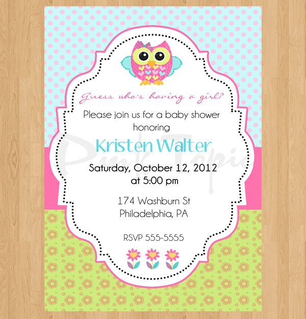 Baby Shower Girl Invitation Owl Pink Green Blue