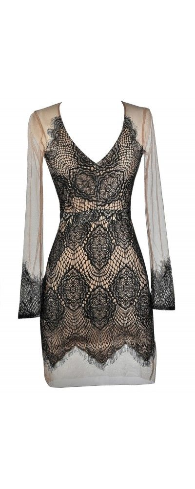 Lily Boutique Barely There Lace and Mesh Dress in Black/Beige, $52 Black and Beige Mesh Lace Dress, Cute Black Fitted Dress, Lace Cocktail Dress, Lace Party Dress www.lilyboutique.com
