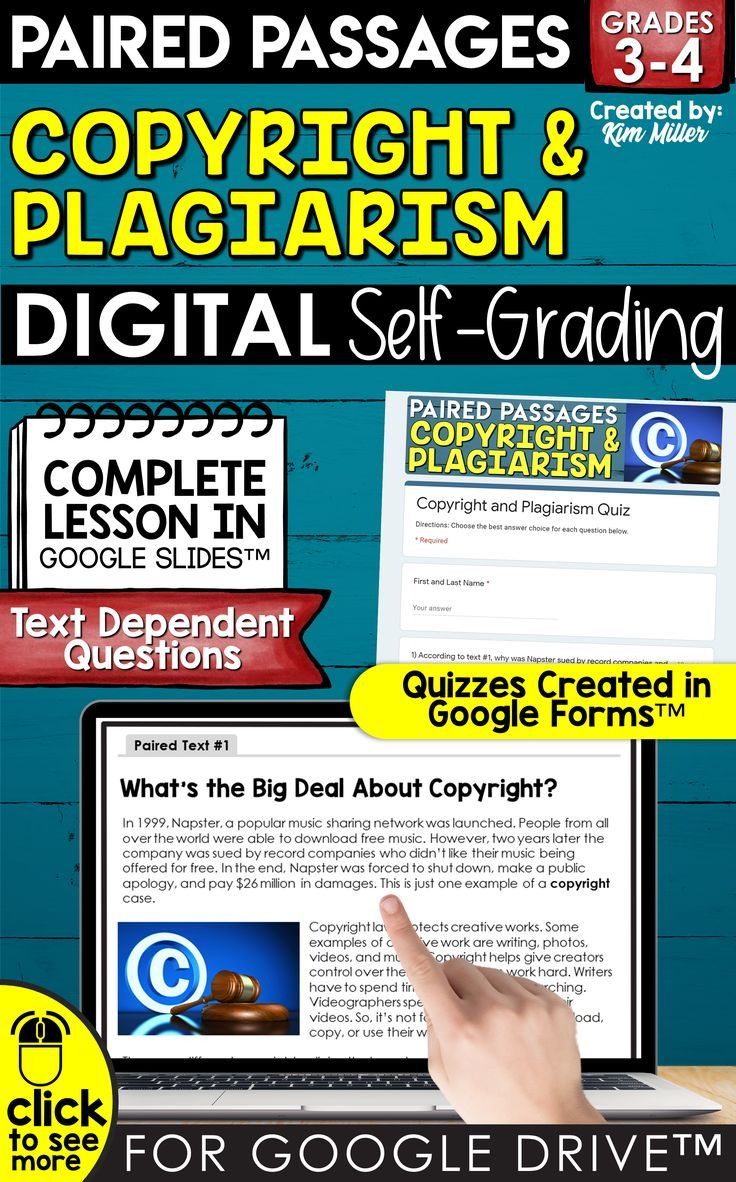 Paired Text Copyright Plagiarism For Google Drive Distance Learning In 2020 Paired Texts Plagiarism Lesson Paired Passages