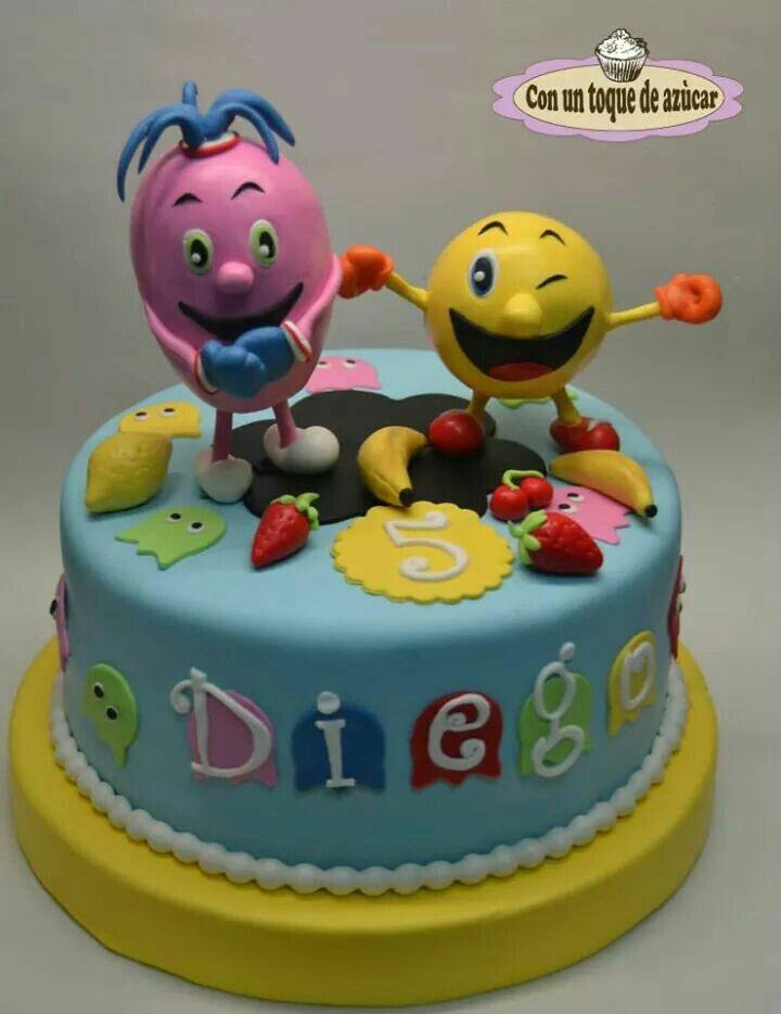 Pac-man cake, Pacman cake, tarta fondant Pacman