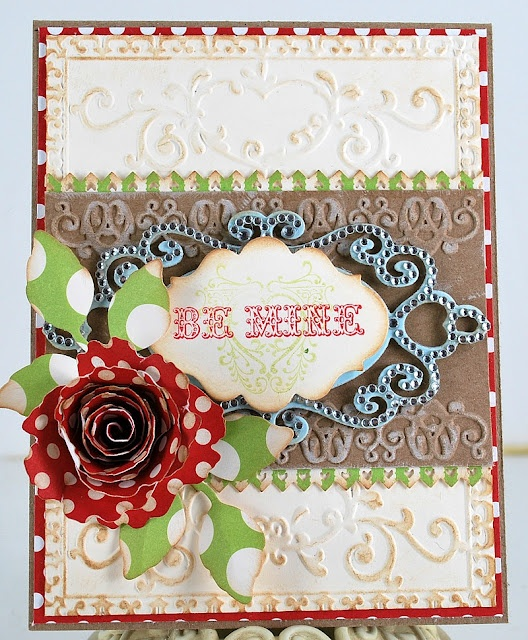 JustRite Valentine Card designed using Winter Words JustRite stamps.