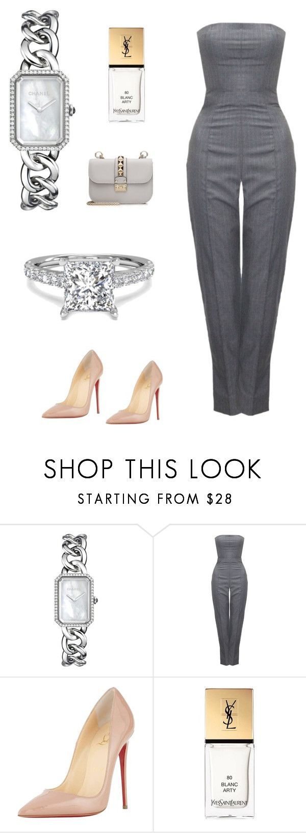 Без названия #2889 by newyorkstylrer ❤ liked on Polyvore featuring Chanel, Alexander McQueen, Christian Louboutin, Yves Saint Laurent and Valentino