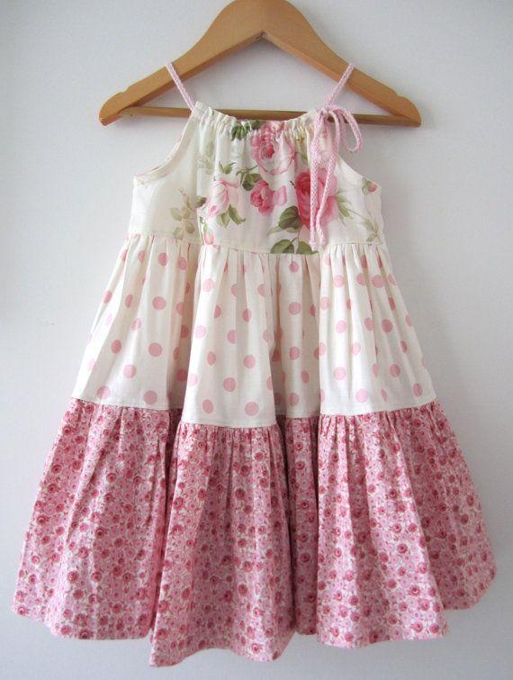 Con volantes bebé niña Pascua vestido rosa algodón crema